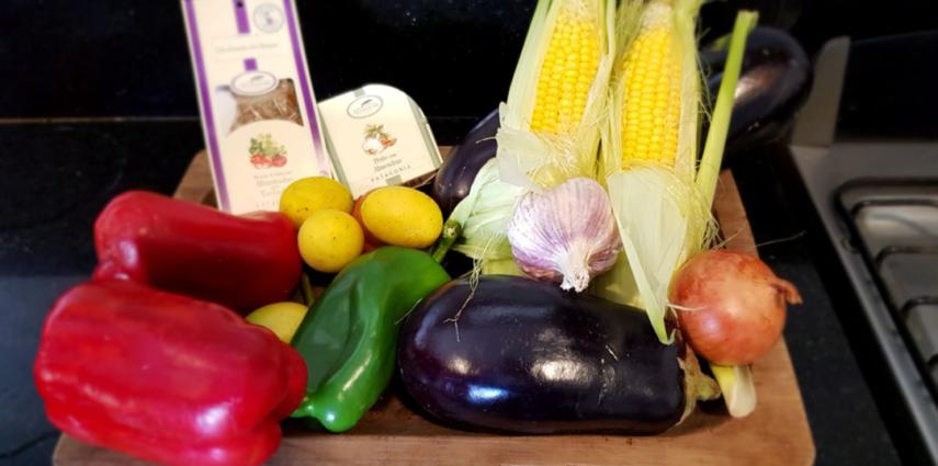 Verduras y pollo a la parrilla